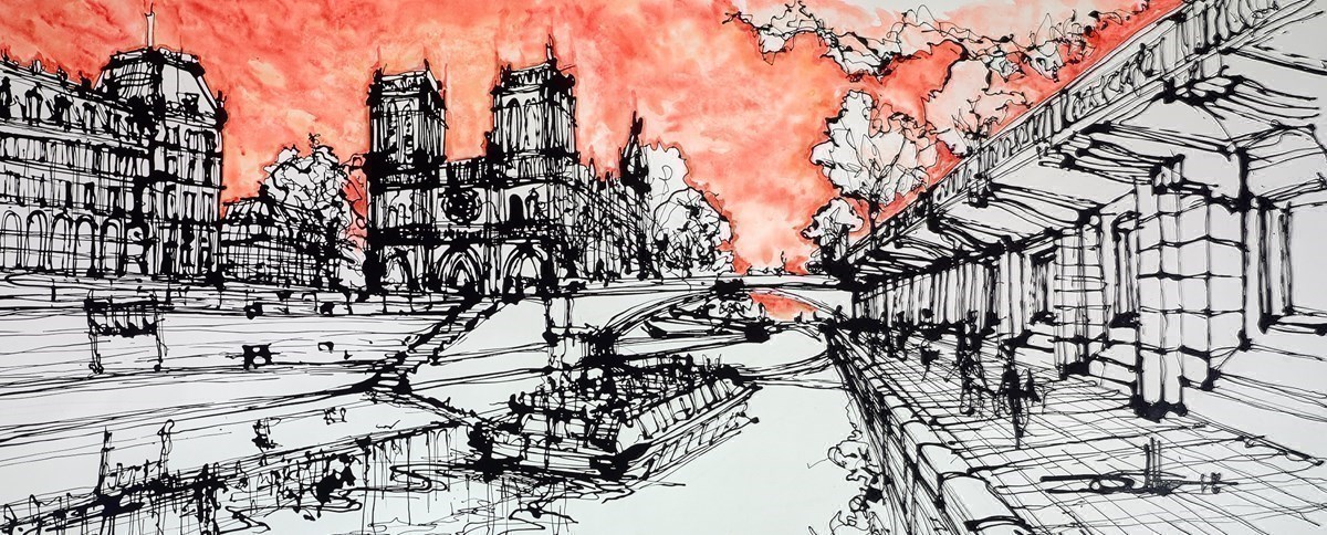 Notre Dame Journey on the Seine by Ingo -  sized 60x24 inches. Available from Whitewall Galleries